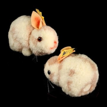 Earliest Series 1950s FAT Steiff Wool Miniature PomPom Hase Rabbit Bunny All ID