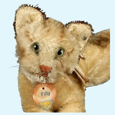 Rare Tiny Steiff Fiffy Kitten Cat 2 IDs 1955 and 1956 Only!