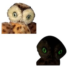 Tiniest and Earliest Sister Steiff Wittie Owl Bird 2 IDs Magic Eyes