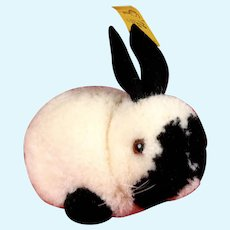 Earliest Series Steiff Middle Brother White and Black Wool Miniature PomPom Bunny Rabbit Hase All ID