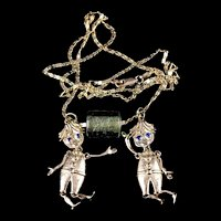 Estate 18K Gold 22-Inch Chain w Two (Really Cool!) Fully Jointed Little Boy Pendants & Handblown Glass Bead