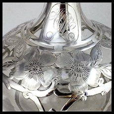 Large Antique Gorham Silver Overlay Perfume Scent Bottle Decanter