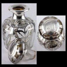 Antique Gorham Silver Overlay Perfume Bottle Design D 1556