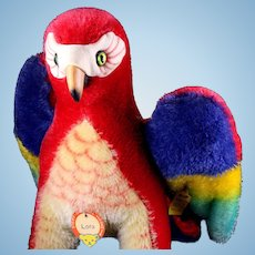 Big Brother Large Steiff Mohair Lora Parrot Bird Spectacular Coloring All ID