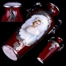 Antique French Sèvres Porcelain Vase w Hand Painted Portrait signed Bizet and Fabulous Silver Overlay Decoration