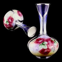 Antique c 1900 Ceramic Art Company (early Lenox) Belleek Porcelain Vase Hand Painted Roses by Eva Cordery w Gorham Silver Overlay