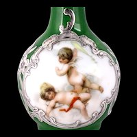 Heubach Brothers Miniature Hand Painted Cherubs German Porcelain Vase w Sterling Silver Overlay