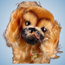 """Big"" Sister Steiff Peky Pekingese Puppy Dog All ID Near Mint Barks!"