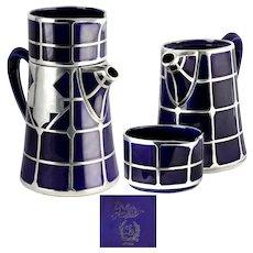 Art Deco Cobalt Lenox Porcelain (1906-1930 Mark) Mauser Sterling Silver Overlay Stacking (incomplete) Tea Set for One