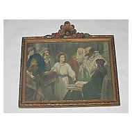Vintage Jesus in the Temple with the Doctors  Religious Print  Artist: H  Hofmann in Gesso Frame Circa 1920's