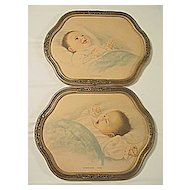 Pair of Antique Victorian Pastel Baby Prints Sunshine and Sandman Time Artist  Albert Barbelli