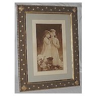Sisters Kneeling in  Prayer Lg Rare Antique Victorian Print  Outstanding Art Nouveau Frame Artist  E. Munier