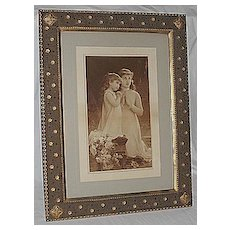 Sisters Kneeling in  Prayer Lg Rare Antique Victorian Print  Outstanding Art Nouveau Frame Artist  E. Munier