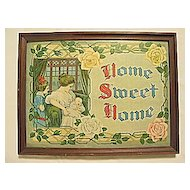 Home Sweet Home  Charming Lg Antique Victorian Floral Motto Print w/ Mother and Children Circa 1910