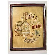 There Is No Place Like Home  Rare  Antique Victorian Punch Paper Sampler