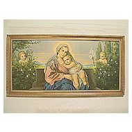 Vintage Virgin Mary and  Baby Jesus  with  Angels in Garden Print Engel-Madonna II  Artist  Mileto