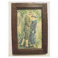 Vintage Sweethearts  Romantic  Print of Man and Woman with Horse Take Shelter from Rainstorm