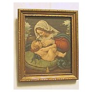 Vintage Rest on the Flight into Egypt  Mary Breastfeeding Baby Jesus  Print Circa 1920's