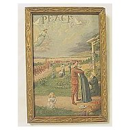 Vintage Patriotic Print  Soldiers Coming Home from War PEACE with  Jesus and  Doves