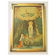 Antique Madonna of Lourdes  Bernadette Soubirous  and The Virgin Mary at The Rocky Grotto Rare Antique Print