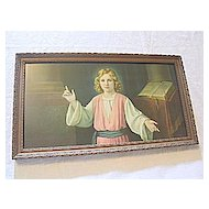Vintage Print of Jesus in Temple w/ Bible  Artist  Giovanni