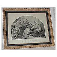 Christ Blessing Little Children  X-Lg Antique Victorian Inspirational Religious Jesus Print  Listed Artist: Henry LeJeune