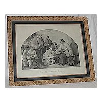 Religious Art Christ Blessing Little Children  X-Lg Antique Victorian Inspirational Religious Jesus Print  Listed Artist: Henry LeJeune