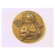 Antique Bronze Cupid Pin / Brooch