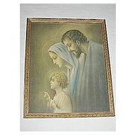 Vintage Religious Print of The Holy Family Young Child Jesus  Mary  Joseph Circa 1920's