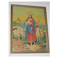 Vintage Religious Print The Lord Is My Shepard  Jesus  with  Baby Lamb and  Sheep Print
