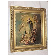 Religious Art The Immaculate Conception Virgin Mary  with  Angels  X-Lg  Antique Victorian Lithograph  Print  Artist Murillo