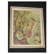 Christ Blessing The Children  Antique Religious Print of Jesus  Children  Others Gathering Around Him to be Blessed and  Healed Circa 1920's