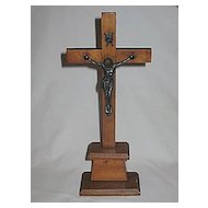 Vintage Large Religious Wooden and Metal Standing Table Top Crucifix Circa 1920's