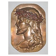 Vintage Jesus Christ with Crown of Thorns   Religious Bronze Portrait Circa 1920's