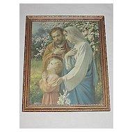 Vintage Religious Print Holy Family in Prayer   Endearing Inspirational Scene   Circa 1920's