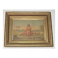 Primitive Antique Victorian Religious Print 'The Good Shepherd' Jesus with Sheep