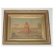 Primitive Antique Victorian Religious Print 'The Good Shepherd' Jesus with Sheep