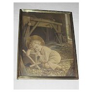 Vintage Religious Print of Young Carpenter Jesus Sleeping with  a Cross in His Father's Workshop