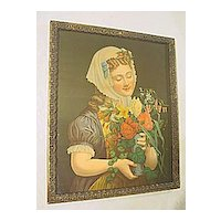 Antique Victorian Print of a Young Girl with  Floral Bouquet