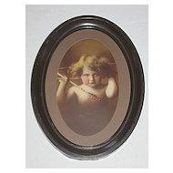 Cupid Awake   Angelic Antique Sepia Print  Listed Artis : M.B. Parkinson