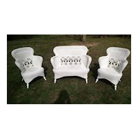Three Piece Fancy Antique Victorian Wicker Parlor Set Heywood Brothers and Wakefield Company