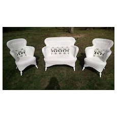 Antique Wicker Set Circa 1890's Victorian Heywood Brothers and Wakefield Company
