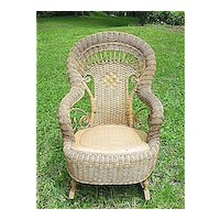 Child's Natural Antique Victorian Wicker Rocking Chair  Rocker Heywood Brothers and Wakefield Company Circa 1890's