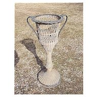 Antique Wicker Pedestal Fern Stand Heywood Brothers and Wakefield Company