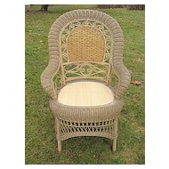 Antique Victorian Wicker Arm Chair Circa 1890's