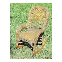 Antique Victorian Wicker Child's Rocker Heywood Brothers and Company Circa 1890's