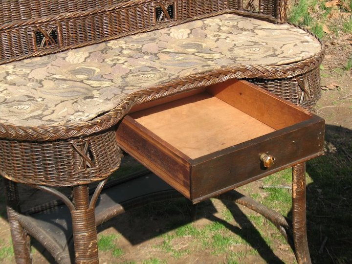 Natural Art Deco Vintage Wicker Desk And Chair Circa 1920 S