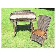 Natural Art Deco Vintage Wicker Desk and Chair Circa 1920's