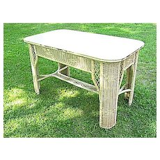 Vintage Art Deco Wicker Library Table  Heywood Brothers and Wakefield Company Circa 1920's