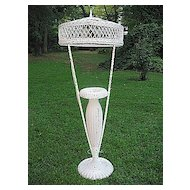 Rare Wicker Floor Lamp with  Fern Vase Circa 1920's